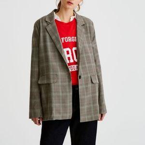 Pull&Bear Oversized Plaid Checked Blazer Size L
